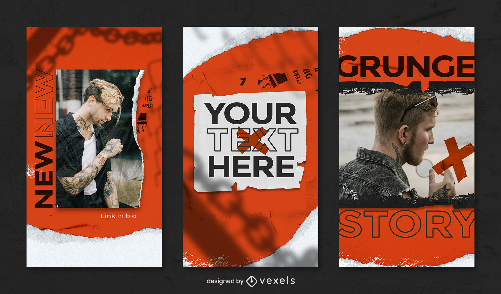 Grunge and ripped paper instagram story template