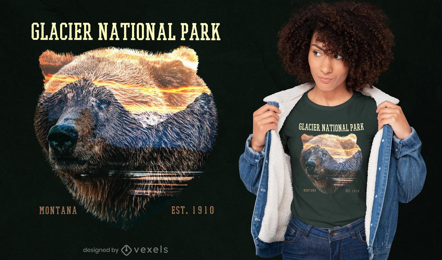 Bear over mountain landscape t-shirt psd