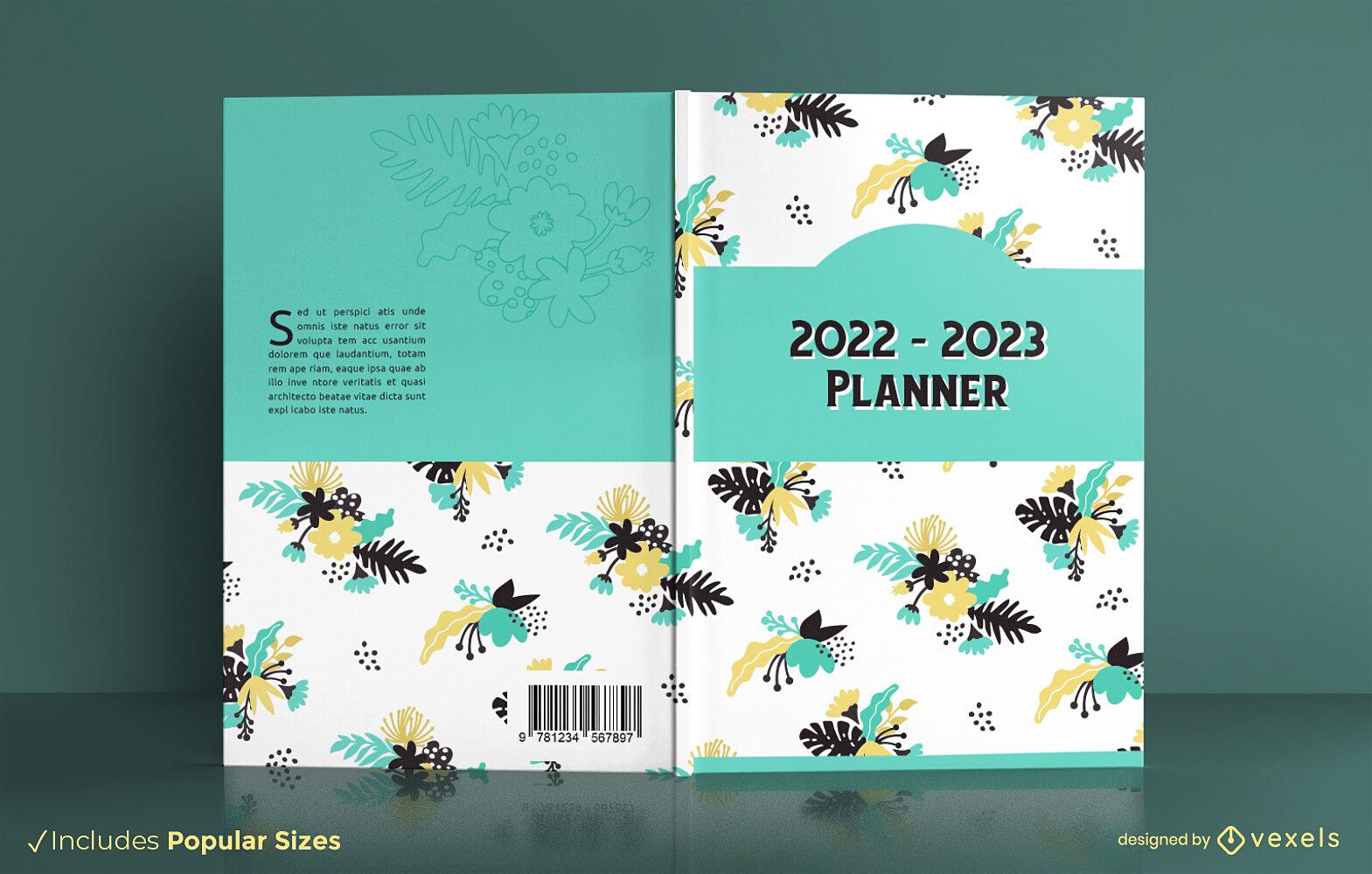 Diseño de portada de libro de planificador anual floral