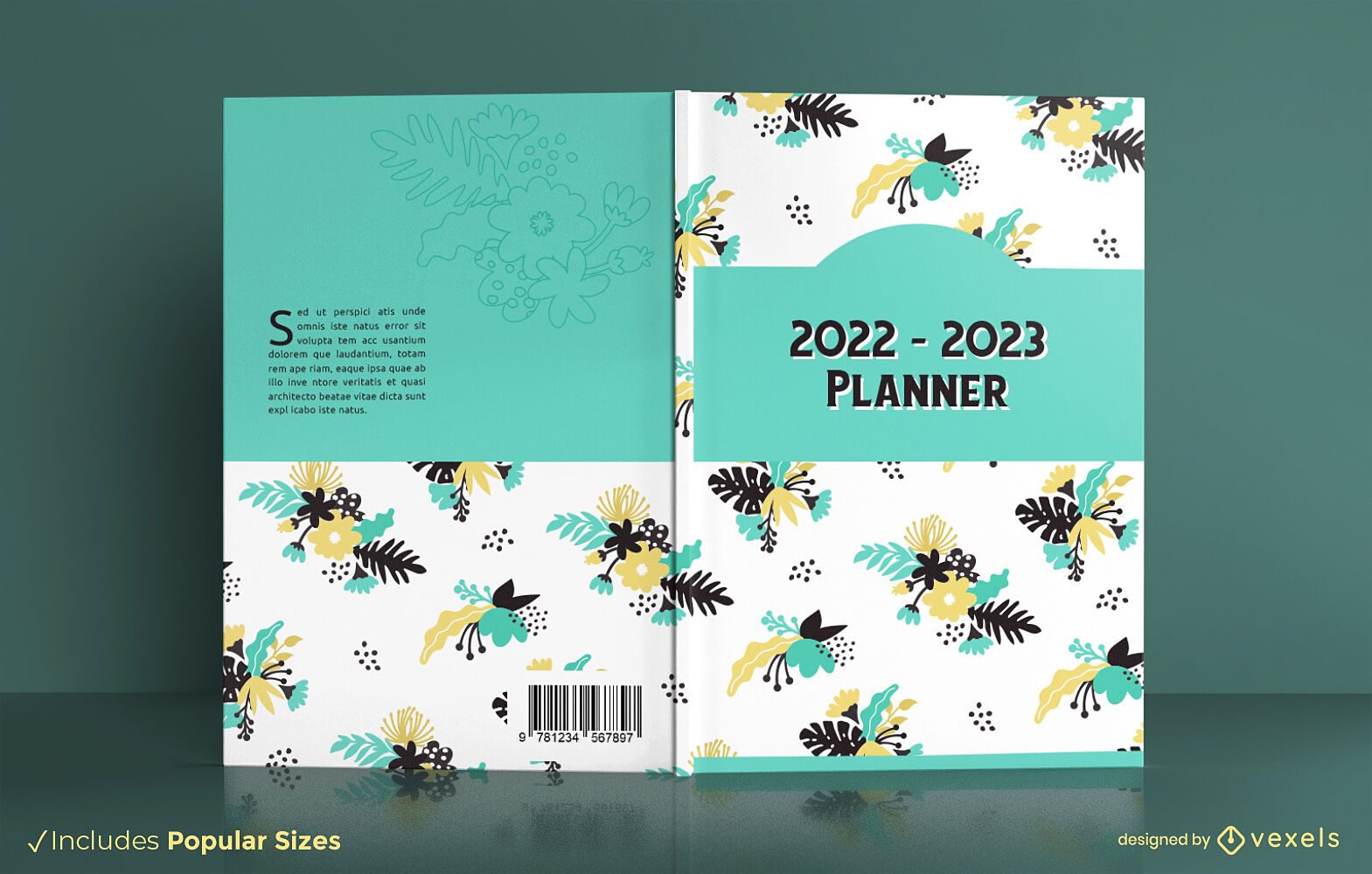 Floral yearly planner book cover design