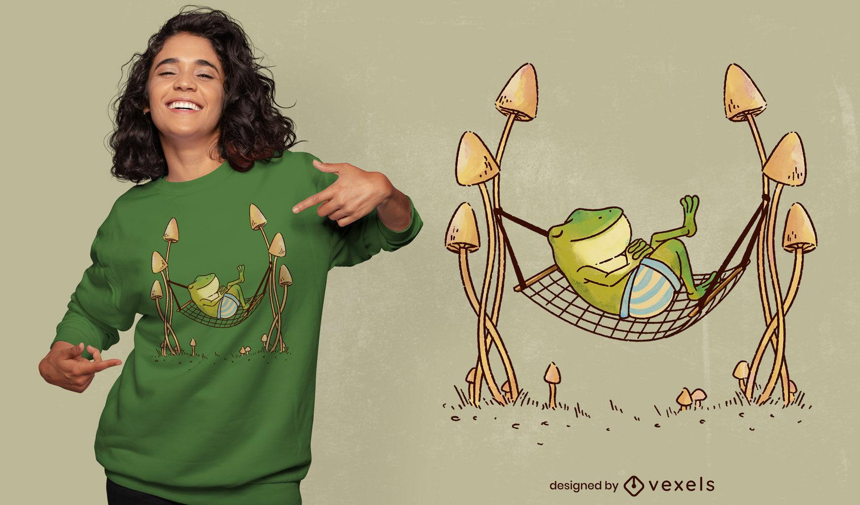Frog animal chilling in hammock t-shirt psd