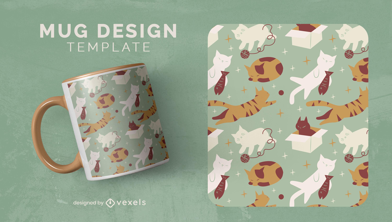 Lazy cats pet animals mug template