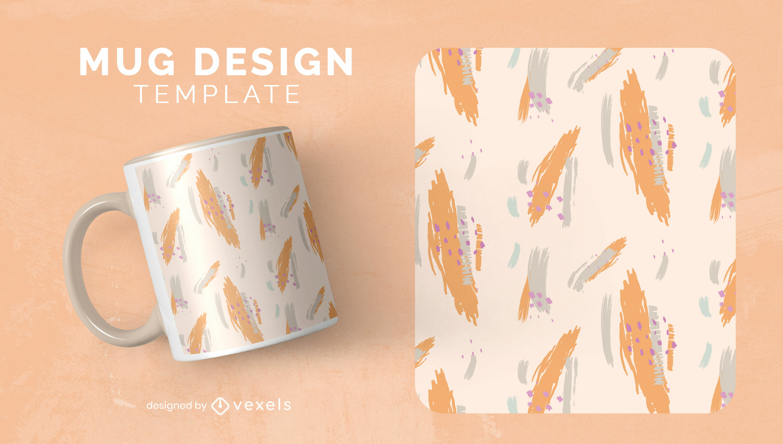 Abstract shapes painting mug template