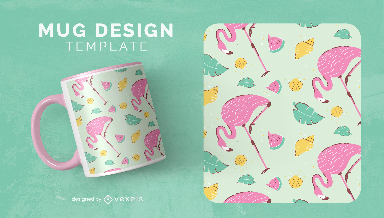Flamingo bird animals cute mug template