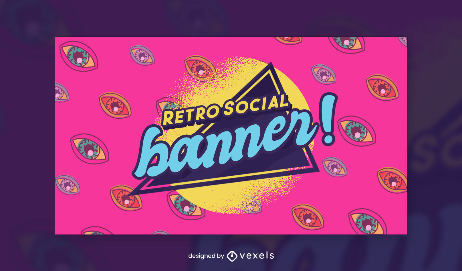 Colorful eyes retro facebook cover template