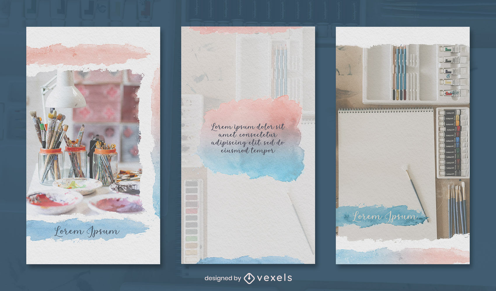 Watercolor art instagram story design template
