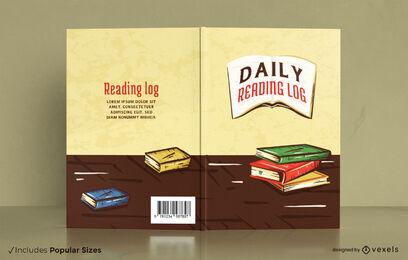 Diseño de portada de libro dibujado a mano de registro de lectura