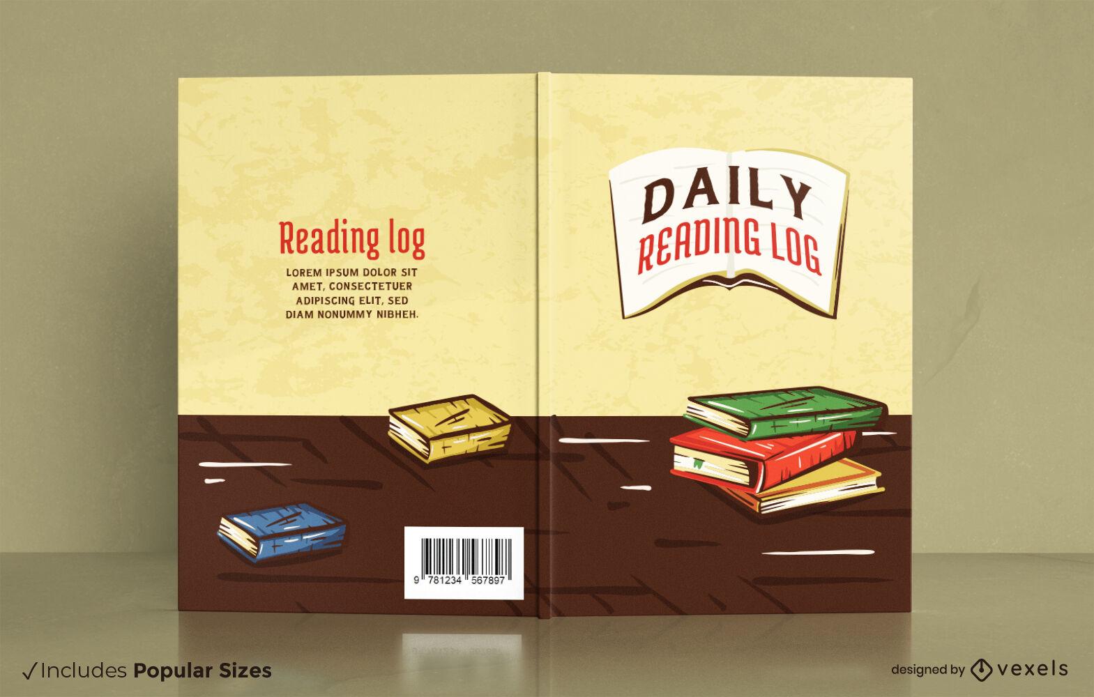 Reading log hand drawn book cover design