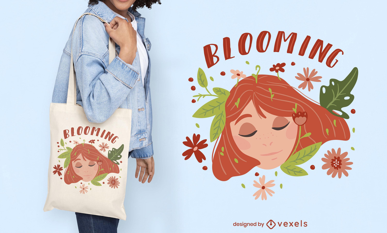 Frau im Naturblumen-Einkaufstaschendesign