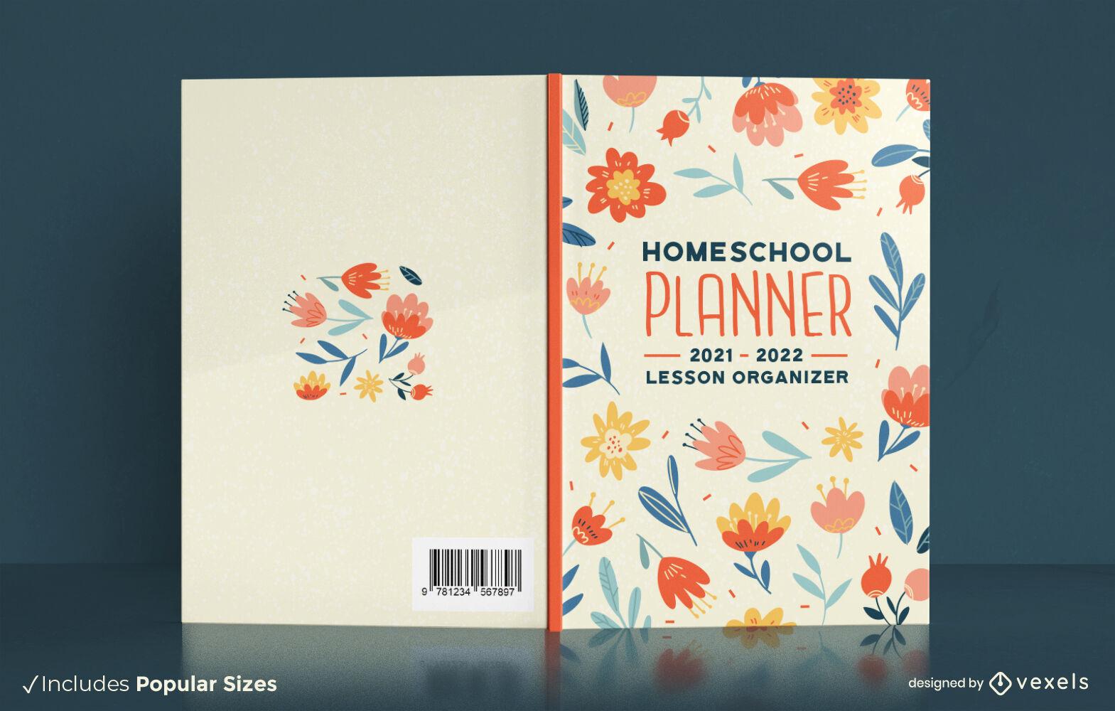 Design floral da capa do livro do planejador de educação domiciliar