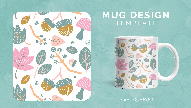 Autumn nature plants and leaves mug design