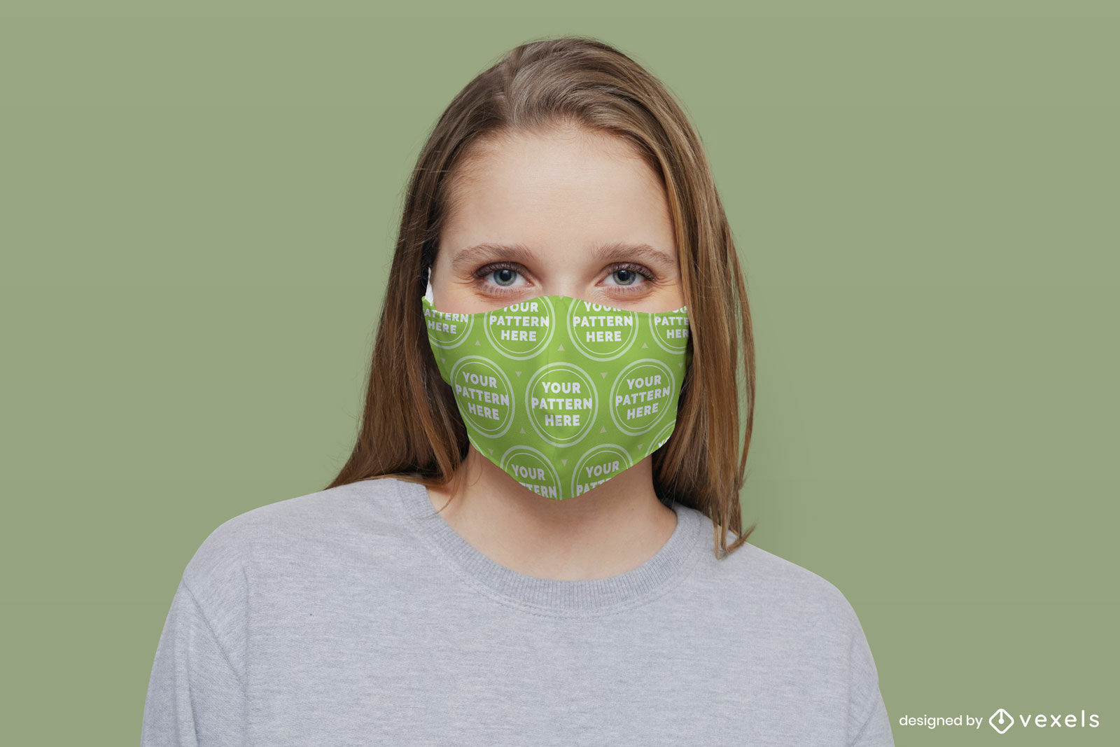 Blond woman solid background face mask mockup