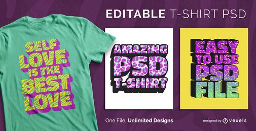 Patrón 3D texturas texto camiseta escalable psd