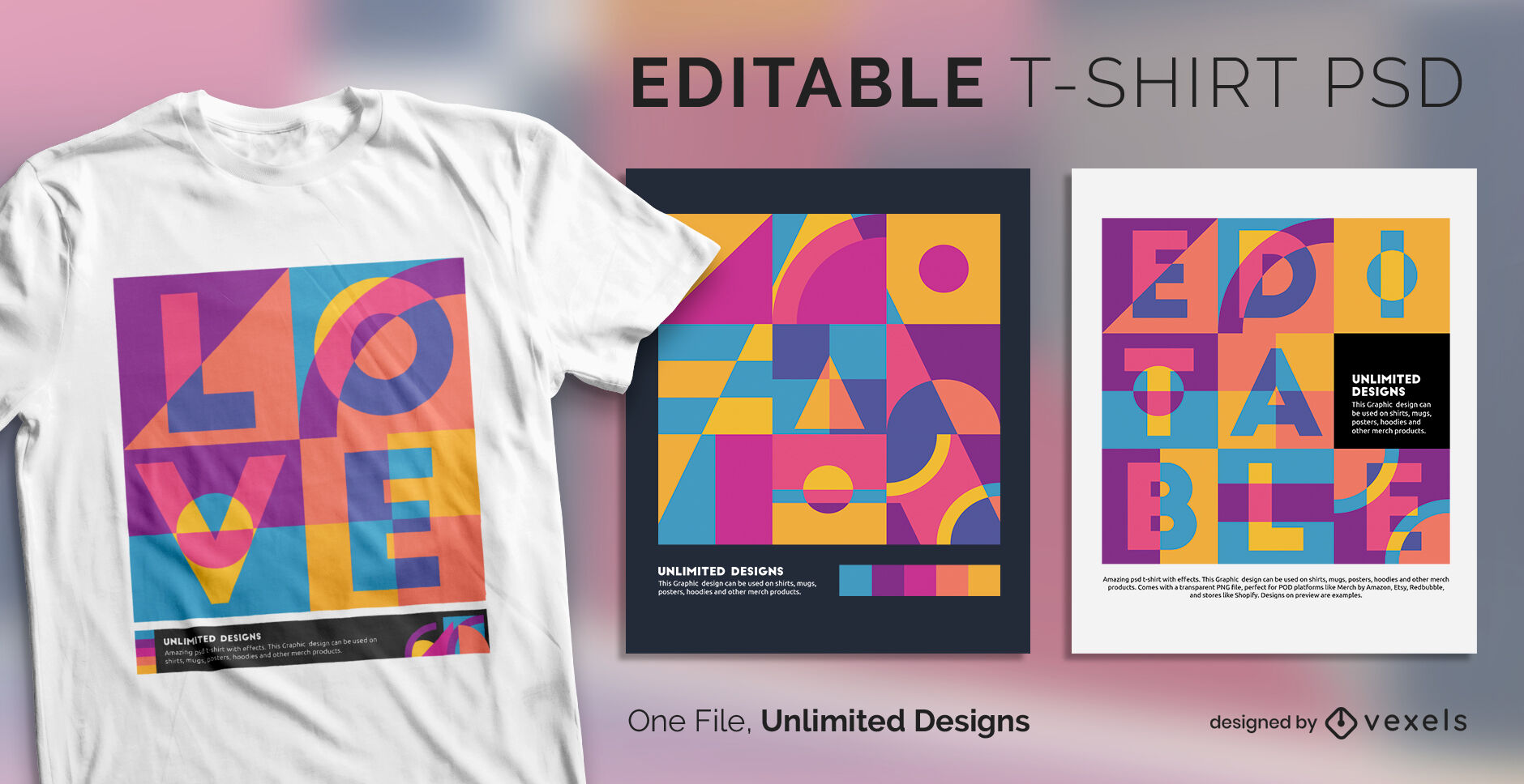 Abstract shapes pop art scalable t-shirt psd
