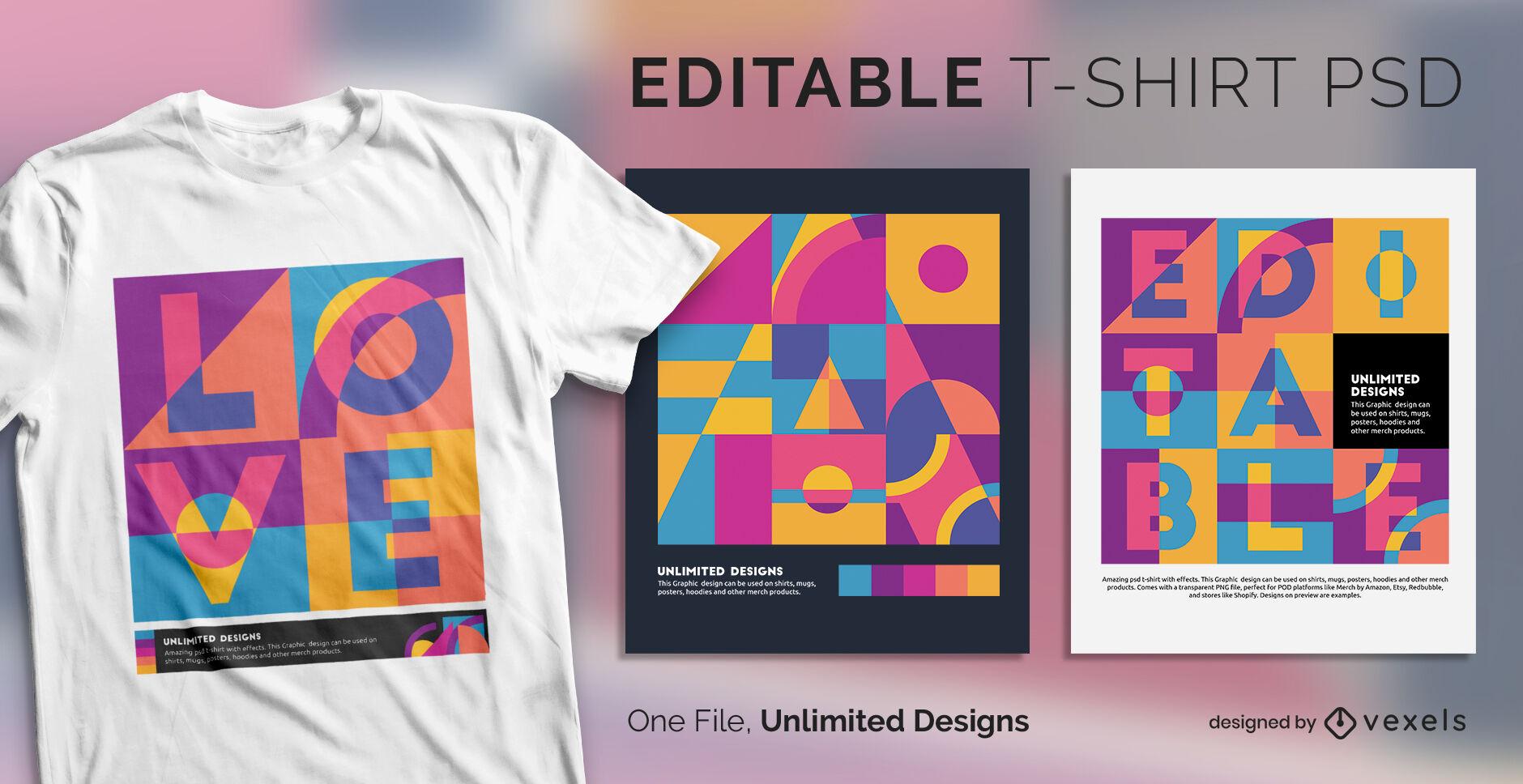 Camiseta escalable de arte pop de formas abstractas psd