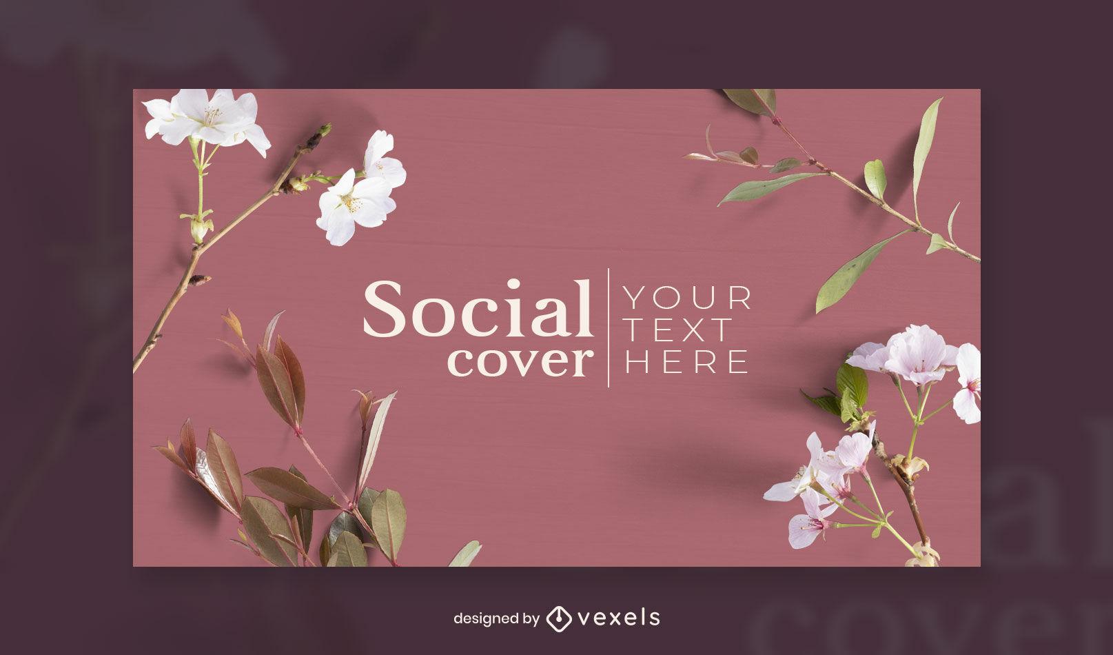 Plantilla de diseño de portada de facebook de flores
