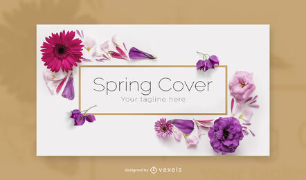 Colorful flowers facebook cover template