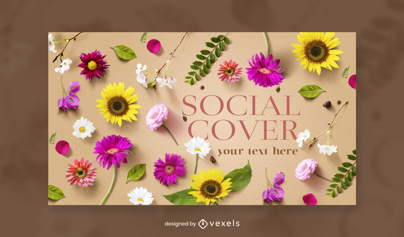 Flowers nature facebook cover template