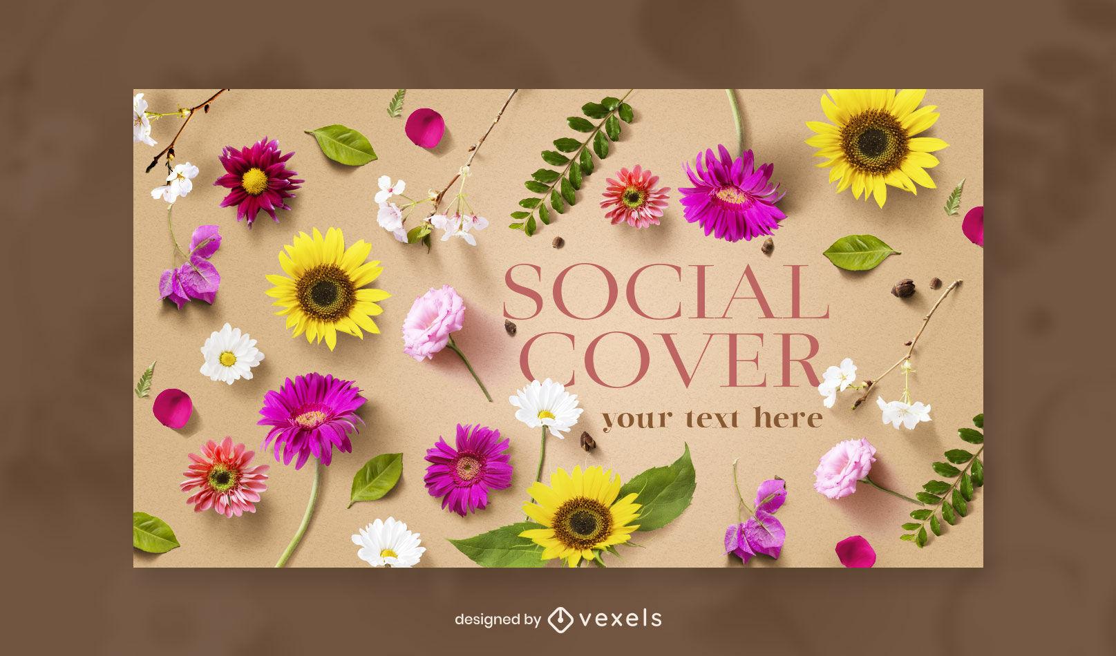 Plantilla de portada de facebook de naturaleza de flores