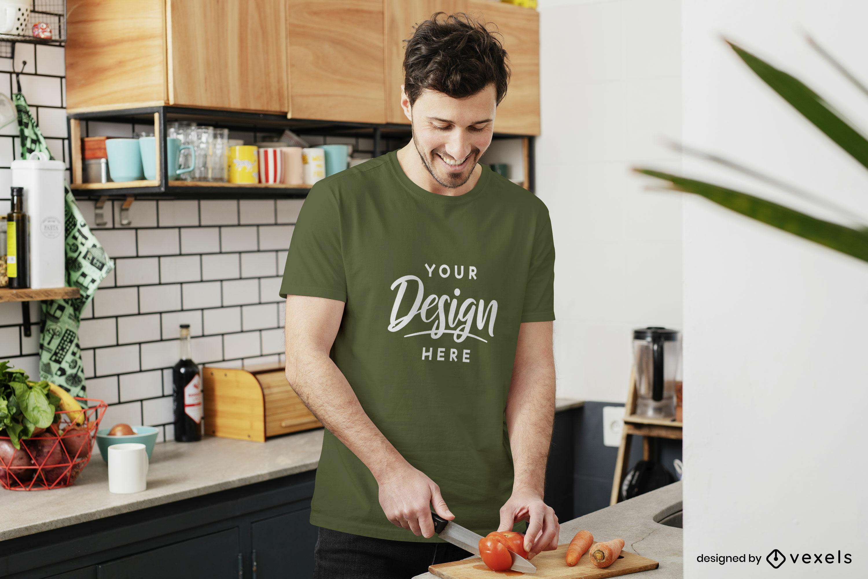 Man in kitchen green t-shirt mockup