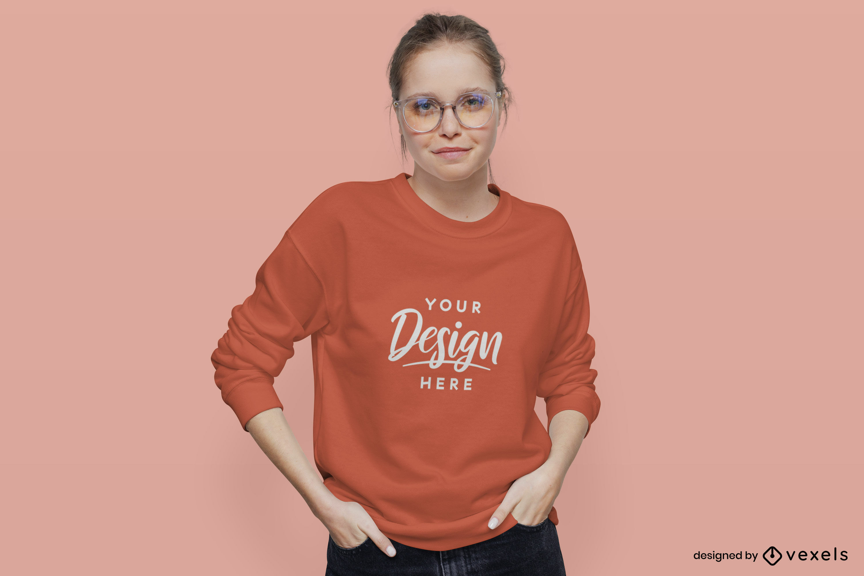 Girl in flat background orange sweatshirt mockup