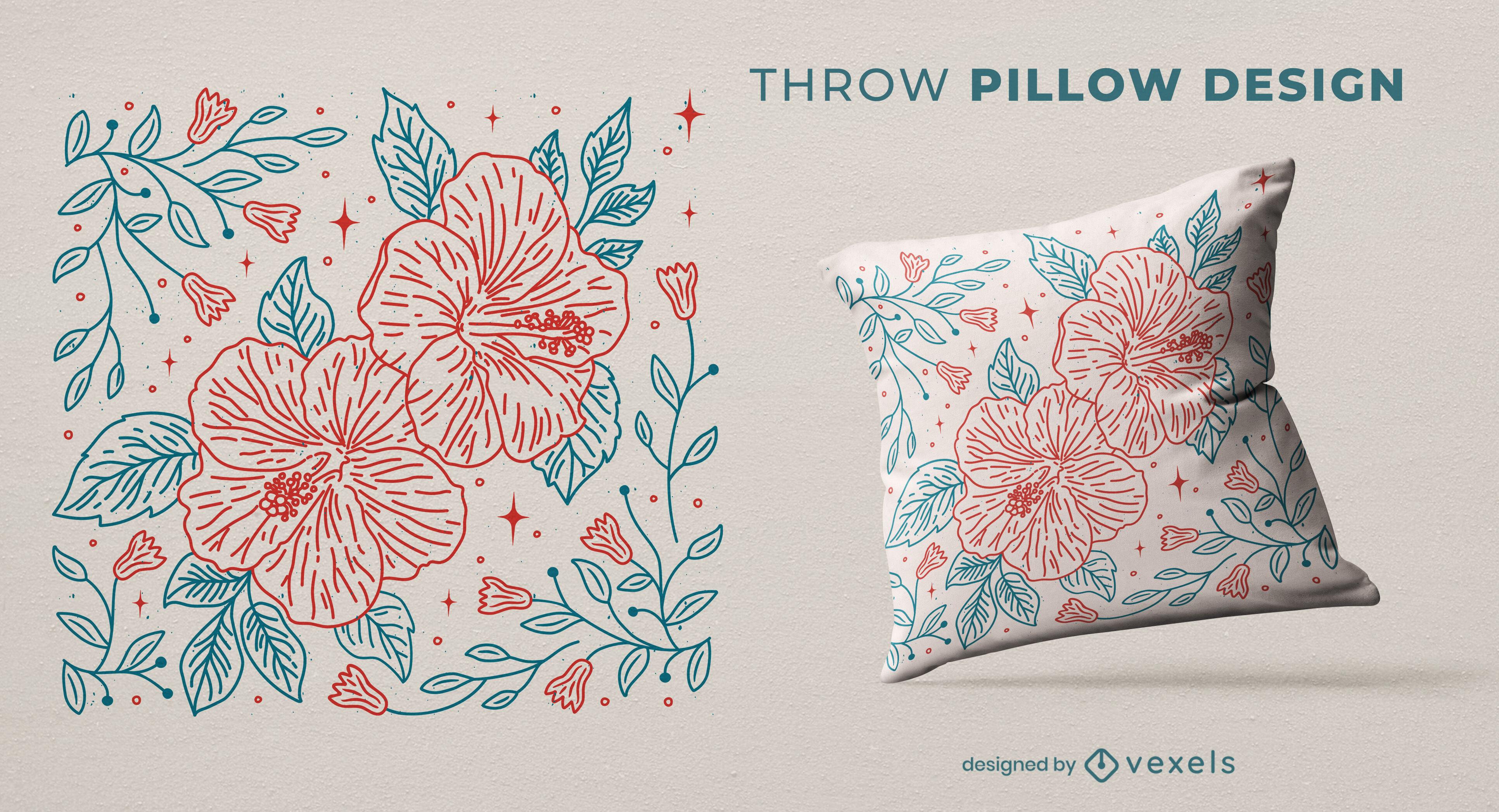 Diseño de almohada de tiro de la naturaleza de flores y hojas.