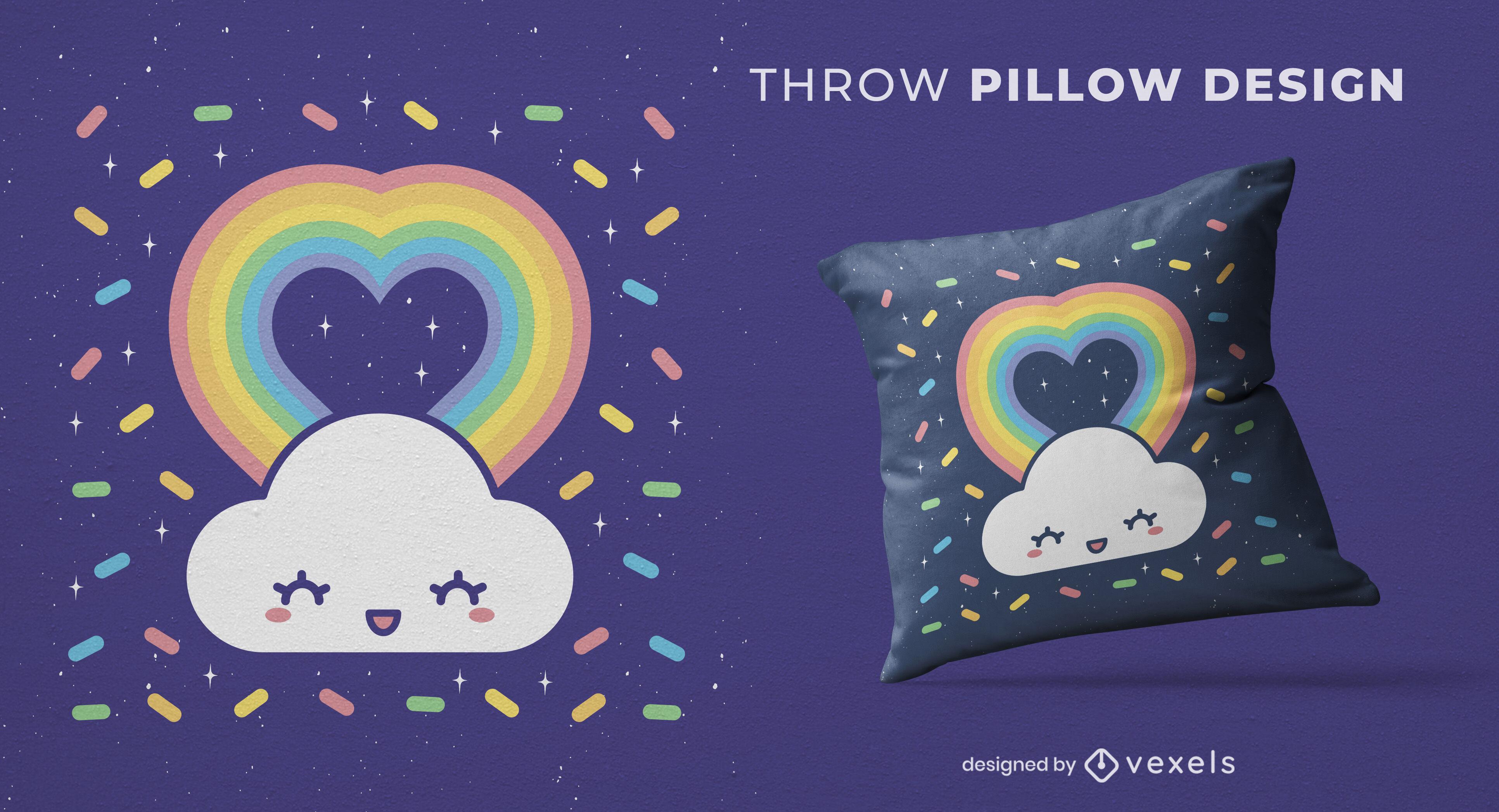Projeto de pilow de arremesso de coração de arco-íris de nuvem feliz