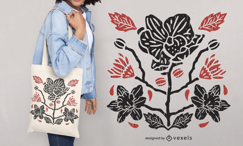 Diseño de la bolsa de asas cortada de la naturaleza de las flores