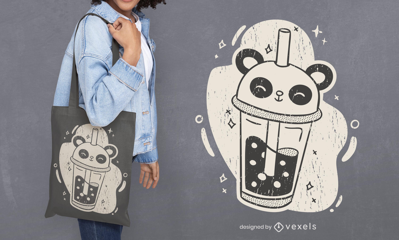 Diseño de bolsa de asas panda milshake bebida