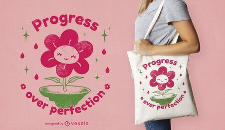 Happy flower cartoon tote bag design