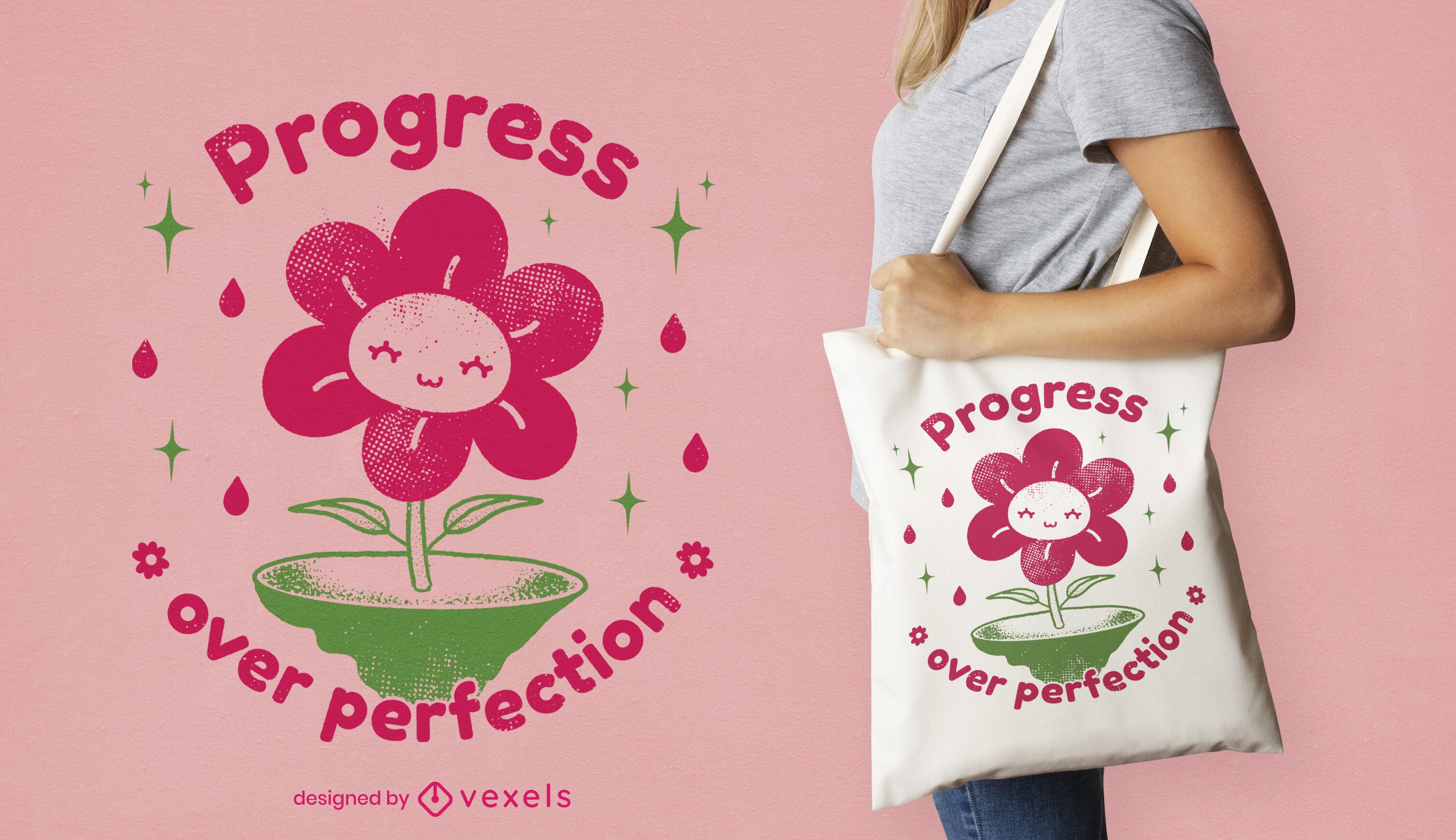 Desenho de sacola de desenho animado com flores felizes
