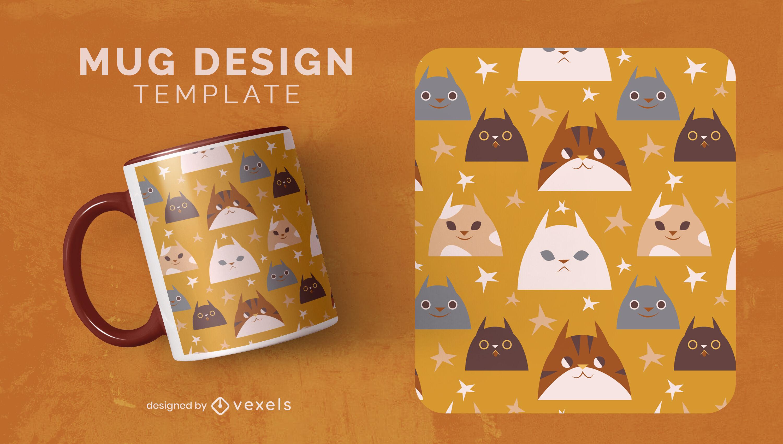 Cute cat faces animal mug template