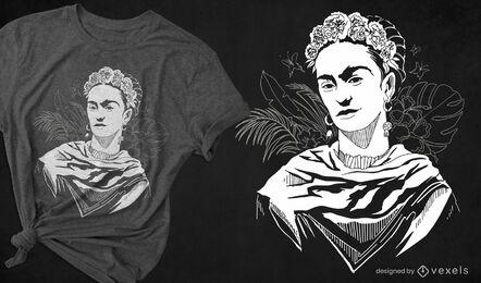 Diseño de camiseta de Frida Kahlo en blanco y negro.