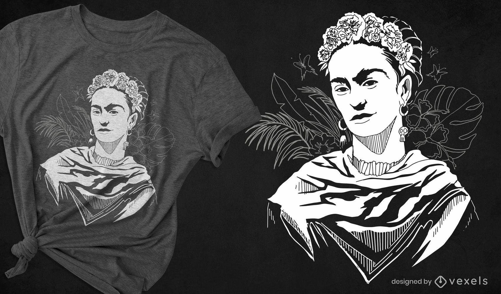 Design de camiseta em preto e branco de Frida Kahlo