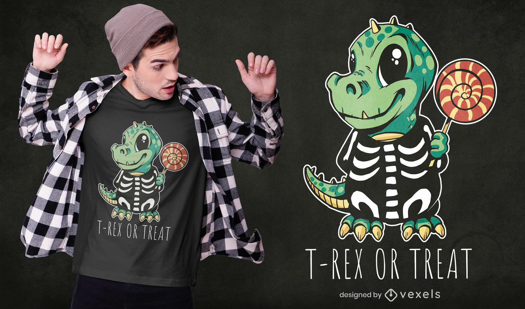 Dinossauro fofo com fantasia de camiseta