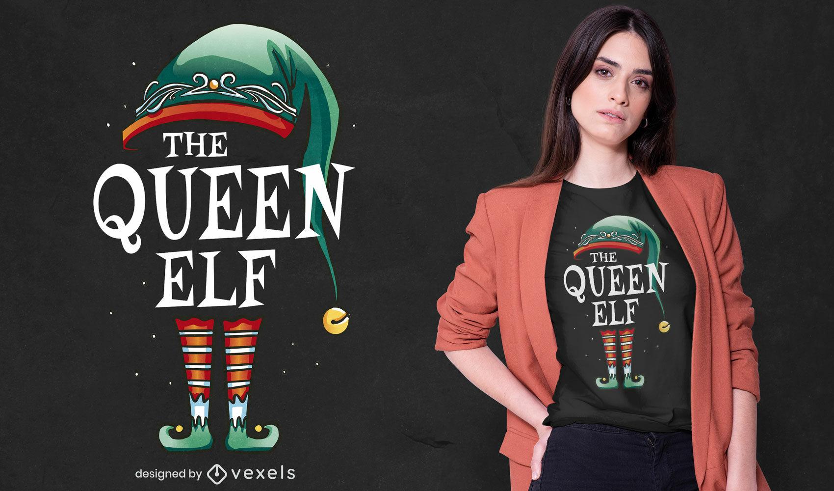 Dise?o de camiseta festiva reina elfa.