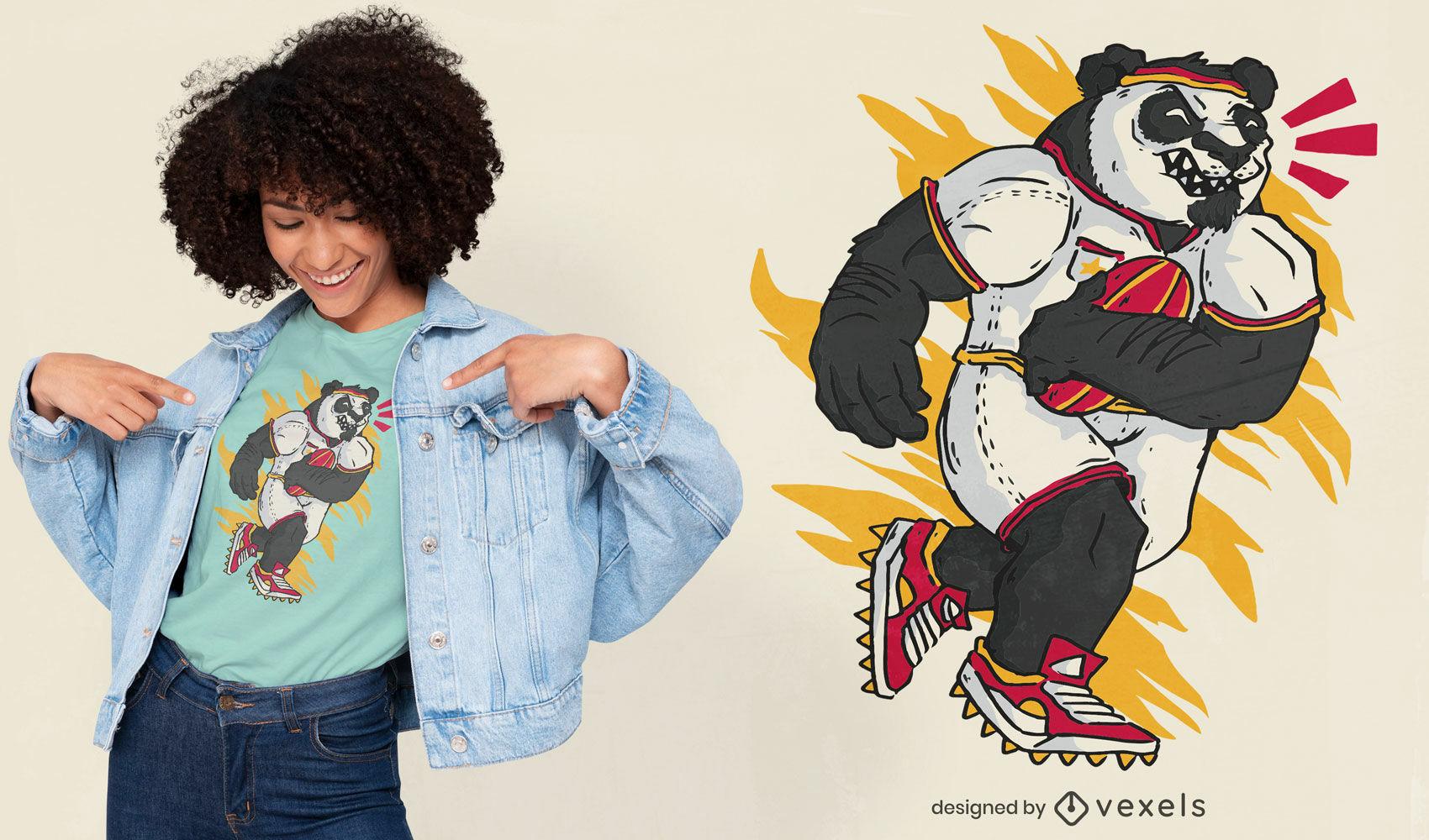Design bacana de camiseta panda rugby