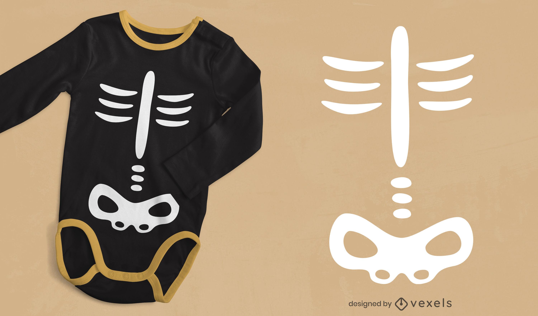 Desenho de t-shirt de esqueleto infantil de Halloween