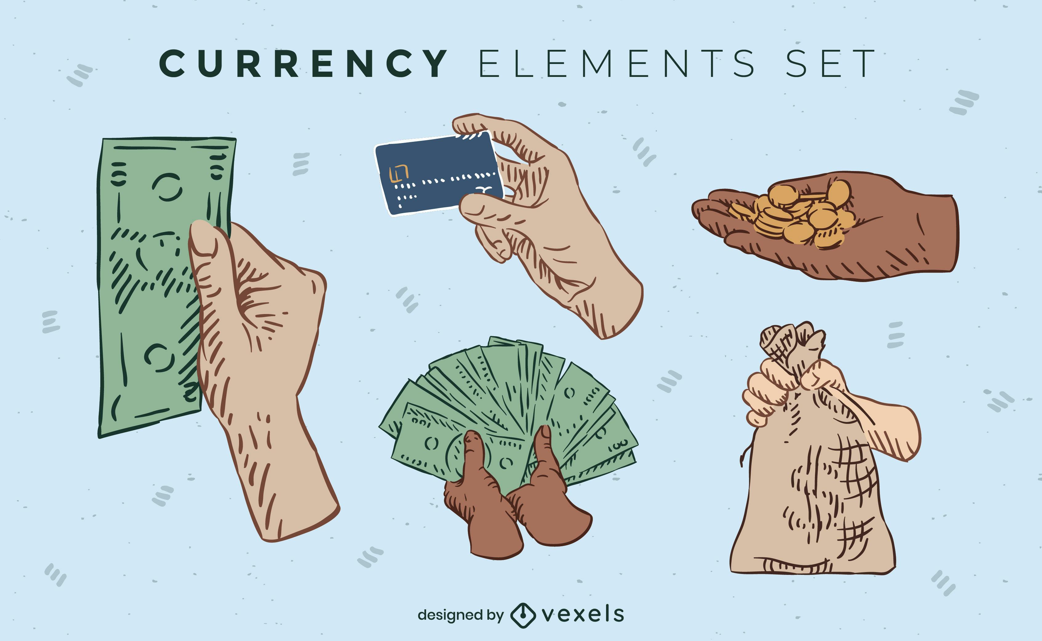Moneda y dinero color elementos dibujados a mano.