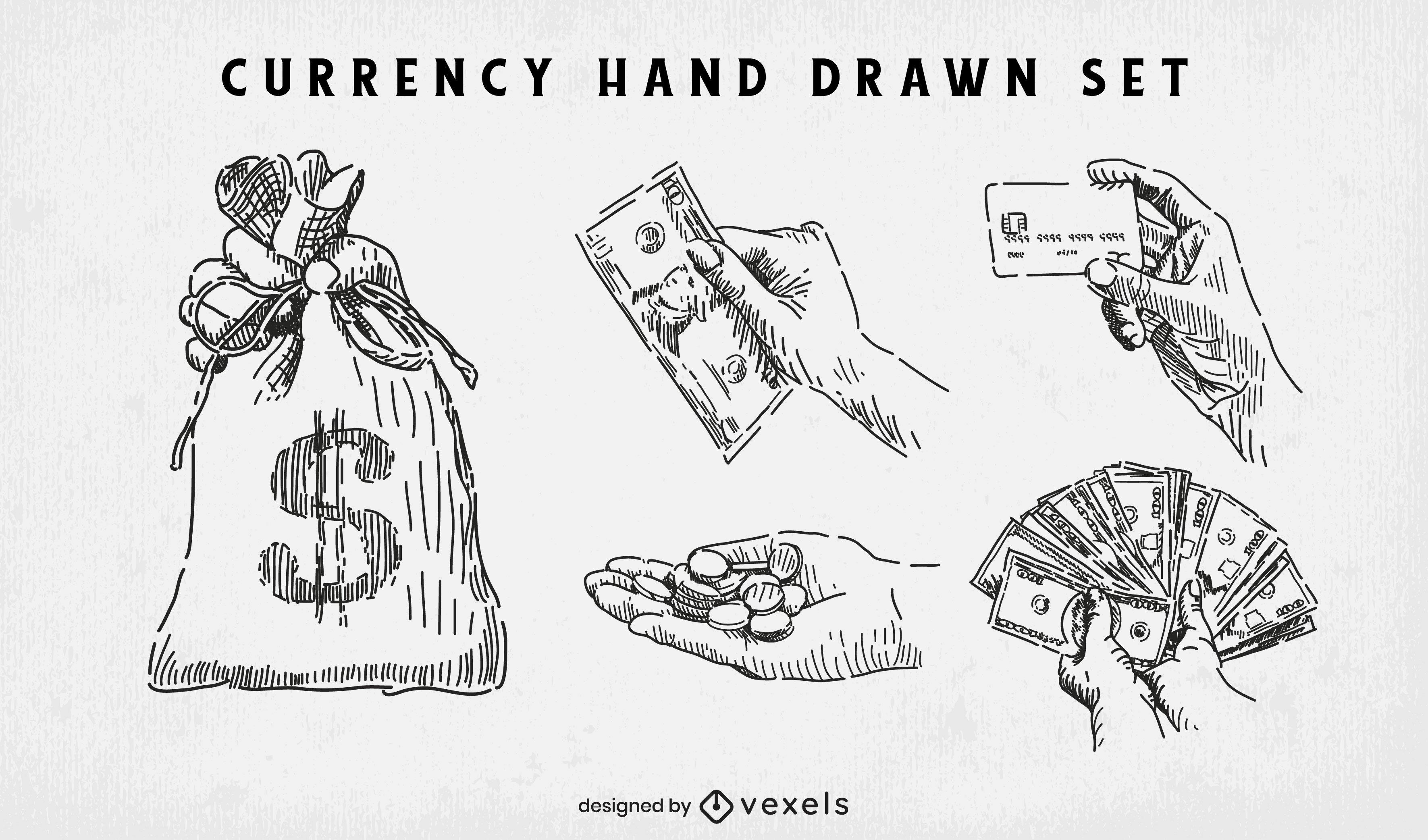 Conjunto de moedas e dinheiro desenhado ? m?o