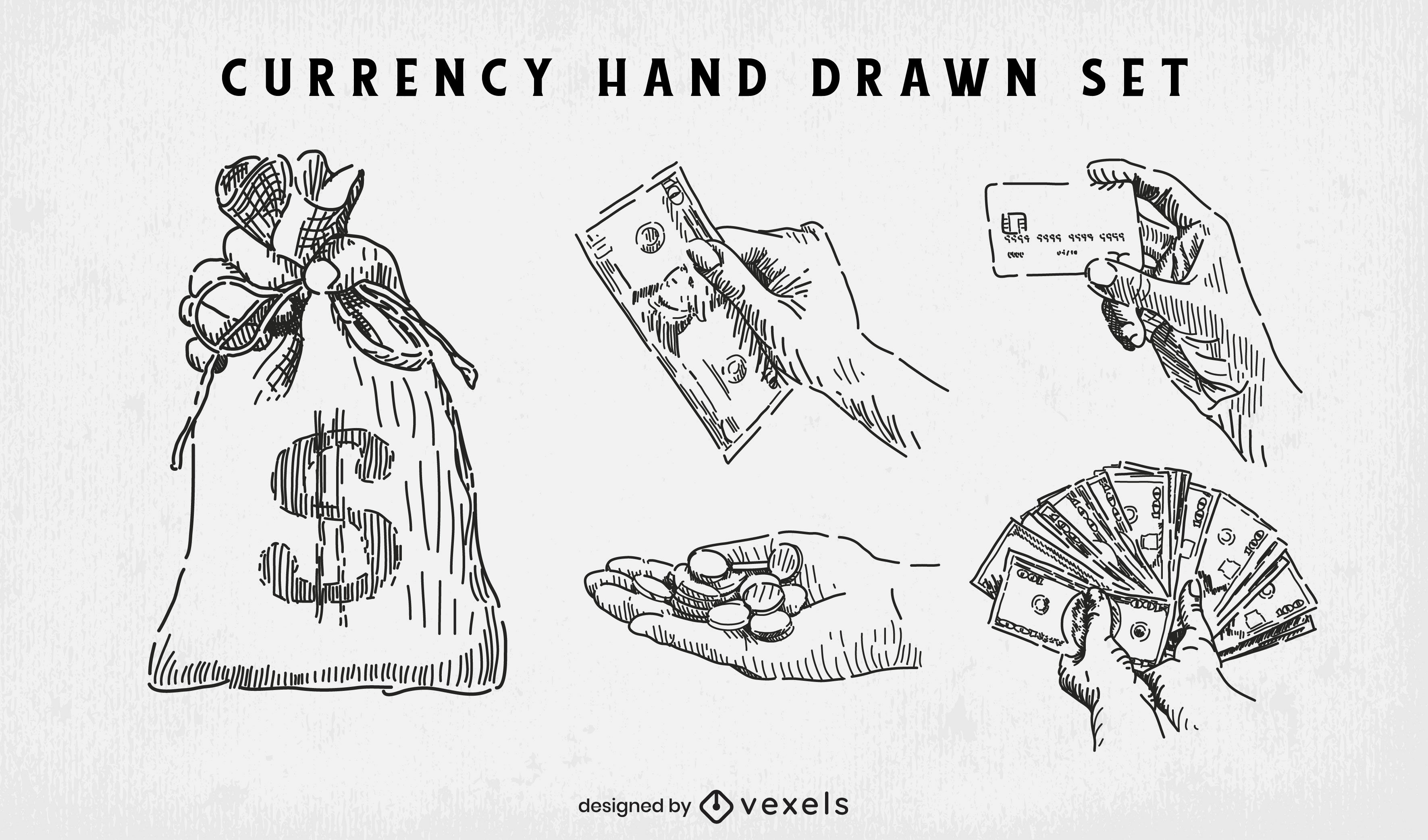 Currency and money hand drawn set