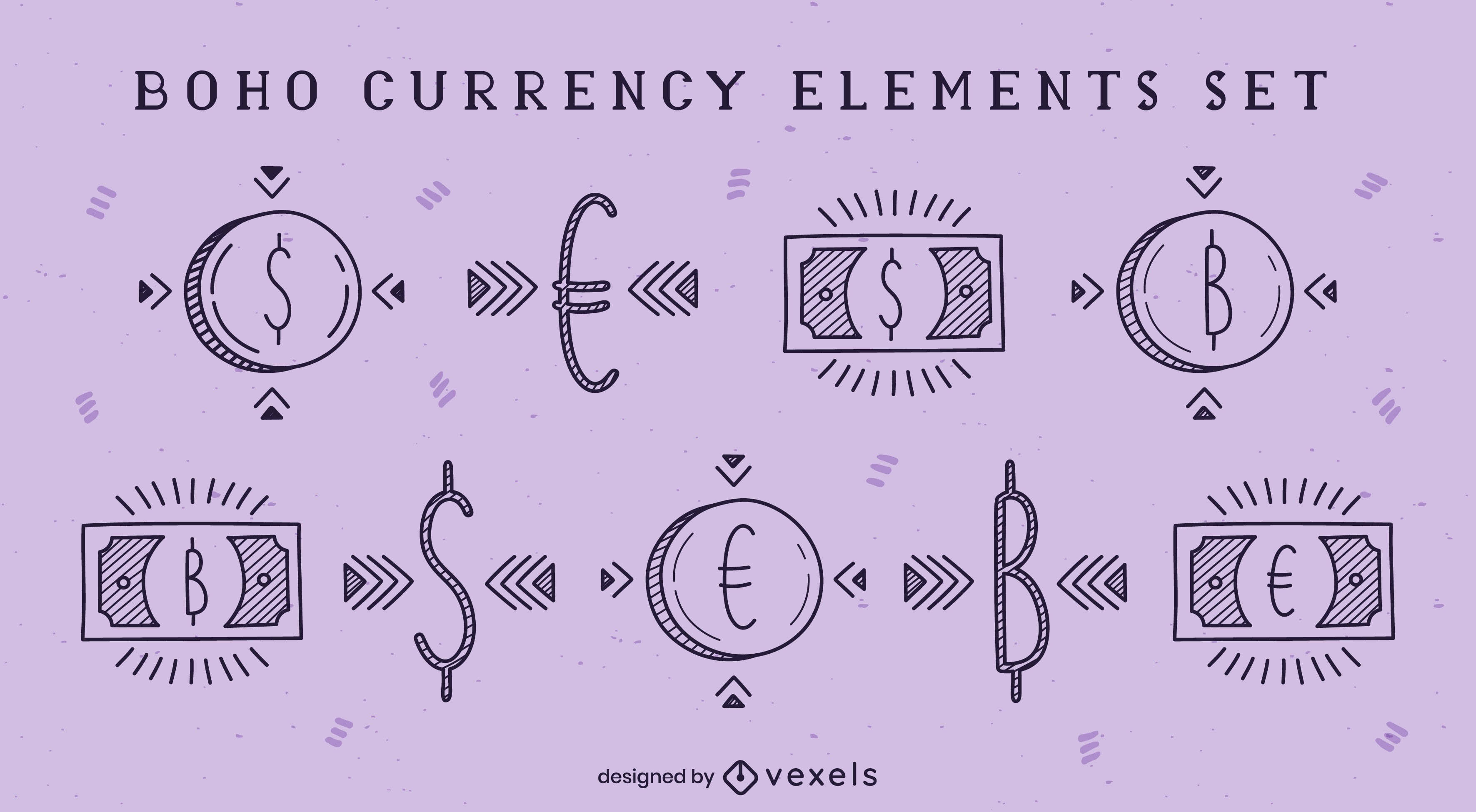 Currency and money elements boho doodle