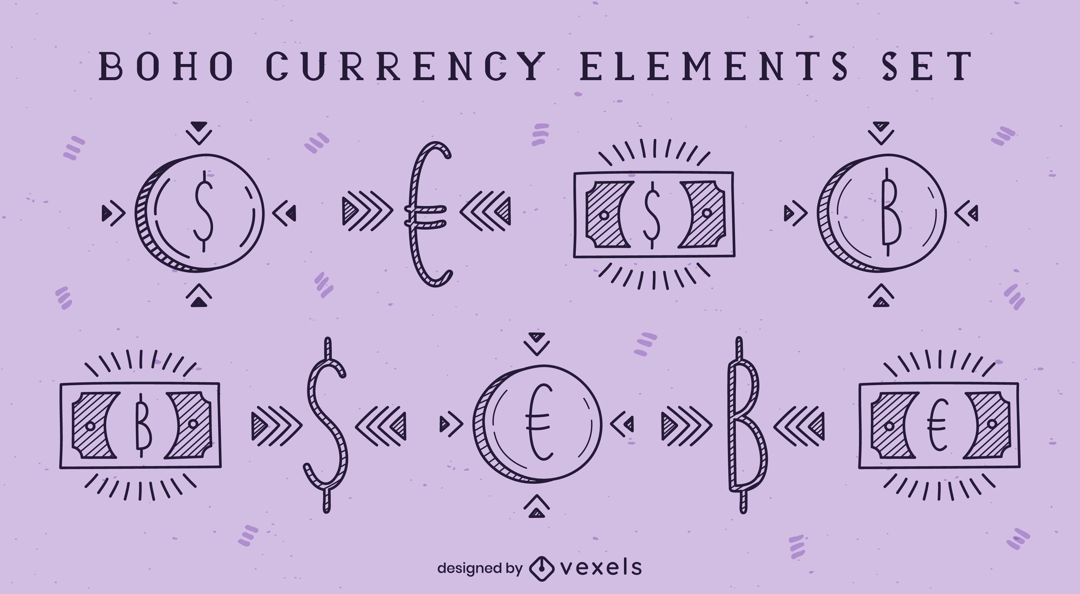 Elementos de moneda y dinero boho doodle