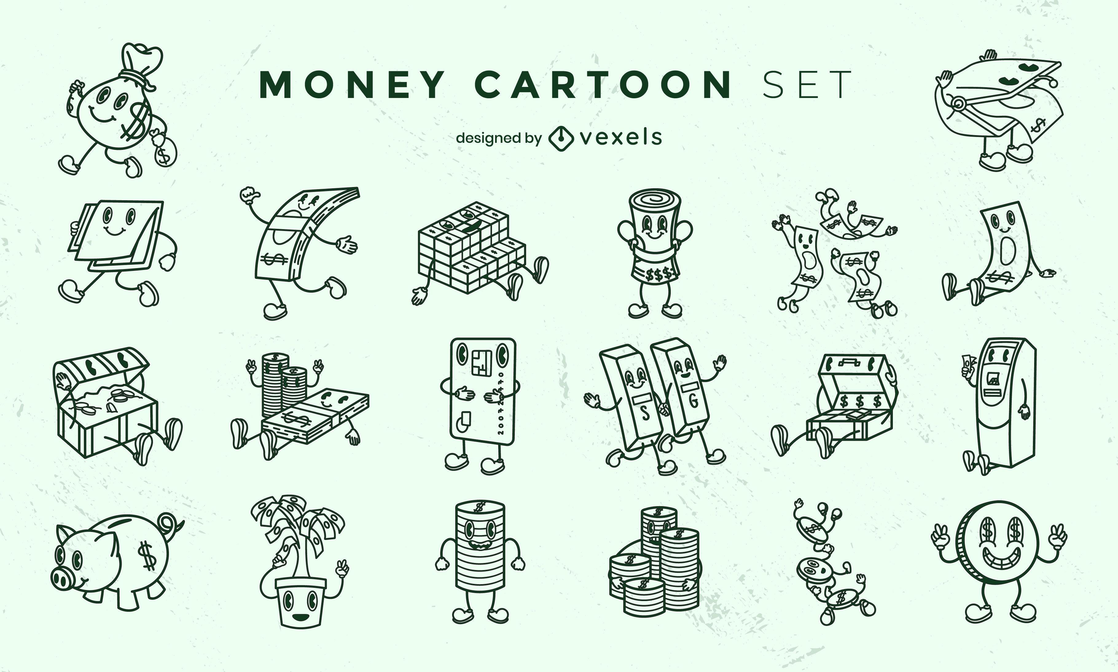 Personagens de desenhos animados retrô com dinheiro