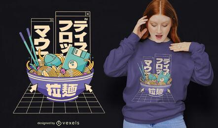 Cool 90's tech ramen t-shirt design