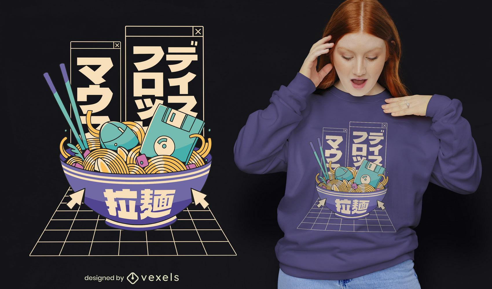 Design legal de t-shirt de ramen tecnológico dos anos 90