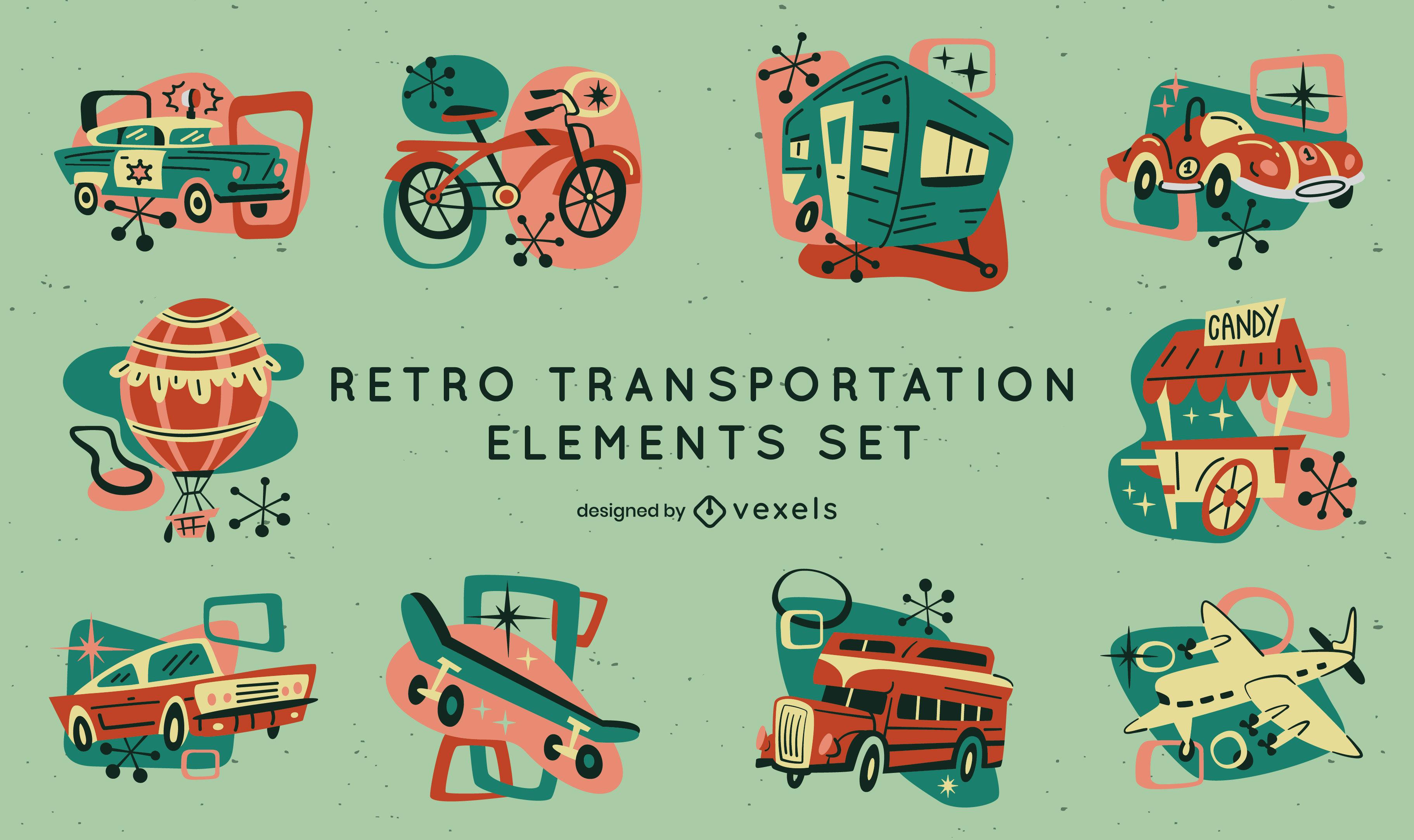 Conjunto de transporte e veículos de desenho retrô