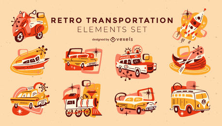 Retro cartoon vehicles and transport set