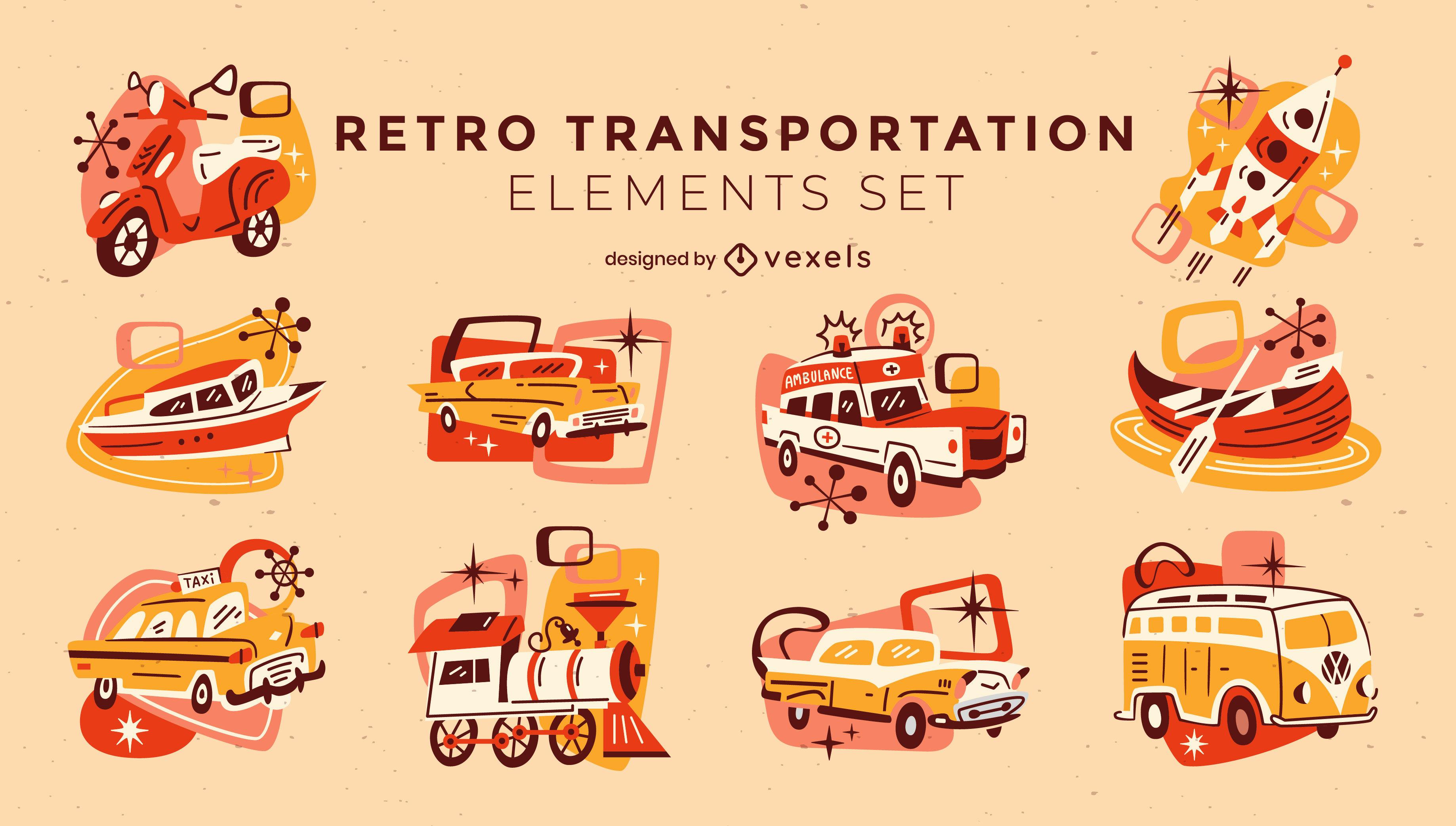 Veh?culos de dibujos animados retro y set de transporte.