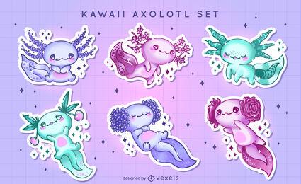 Kawaii axolotl stickers set